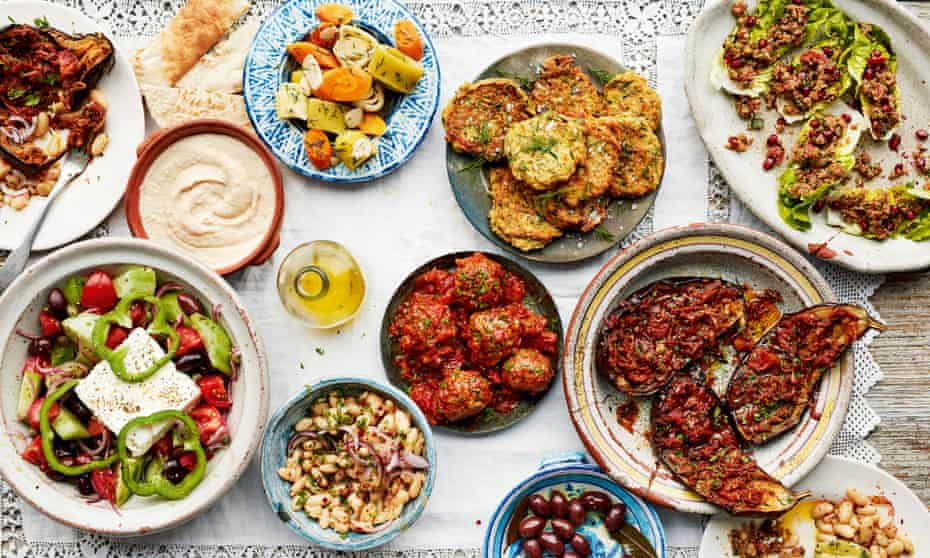 Mezze plates from Ripe Figs by Yasmin Khan.