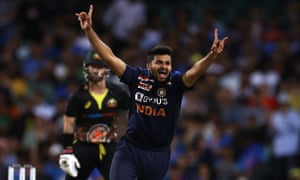 Thakur celebrates after taking the wicket of Wade
