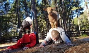 A goat yoga session at Serenbe, Atlanta.