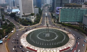 Aerial view of the streets in the Hotel Indonesia area with lighter traffic than usual during the Jakarta government imposed social restrictions in Jakarta, Indonesia on September 14, 2020.