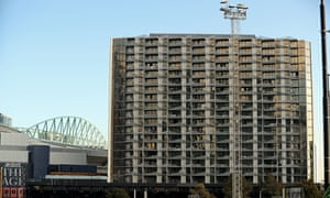 The Lacrosse building in the Docklands, where cladding similar to that implicated in the Grenfell blaze was found to have been to blame for a fire in 2014.