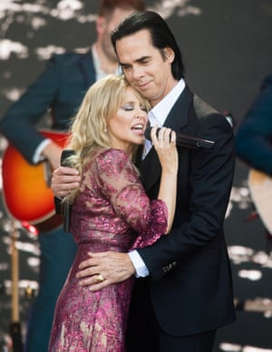 Kylie Minogue and Nick Cave on the Pyramid Stage, Glastonbury 2019.