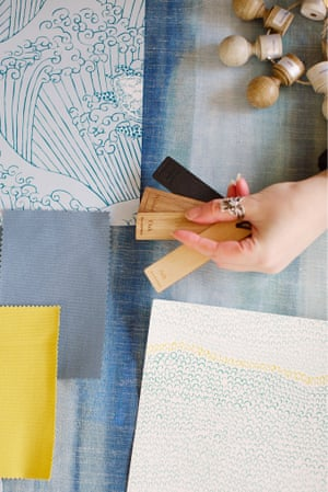 Fabric swatches and wood samples