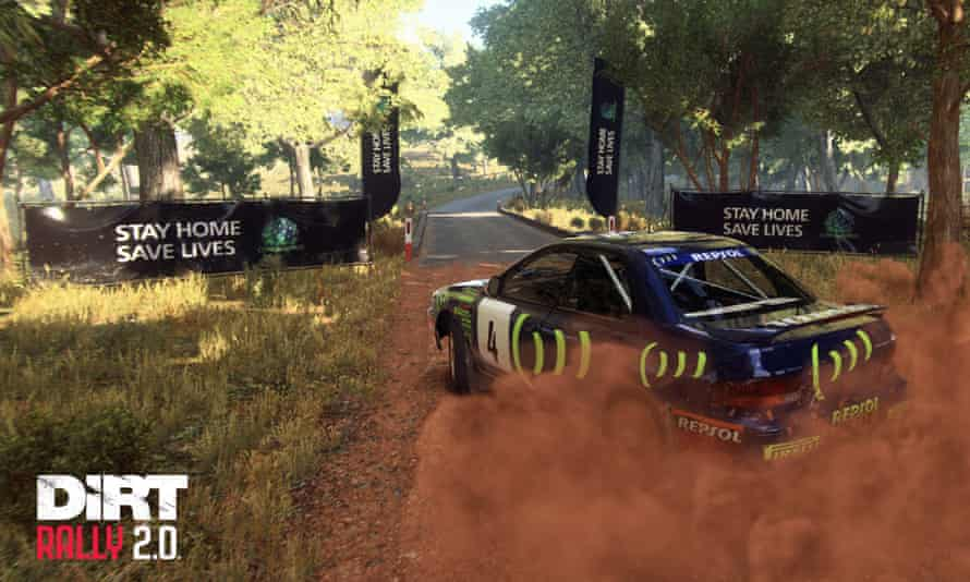 The Dirt Rally 2.0 video game featuring the government's public health message 'Stay At Home, Save Lives'