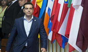 Greek Prime Minister Alexis Tsipras leaves the European Council headquarters after a European Union leaders summit in Brussels.