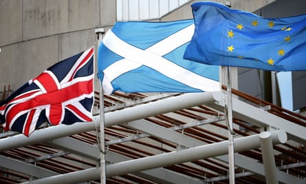 Scottish saltire with union jack and EU flag at Holyrood, Edinburgh