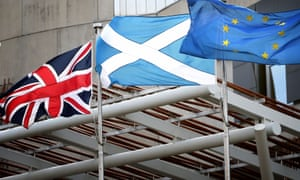 UK, Scottish and EU flags outside the Scottish parliament