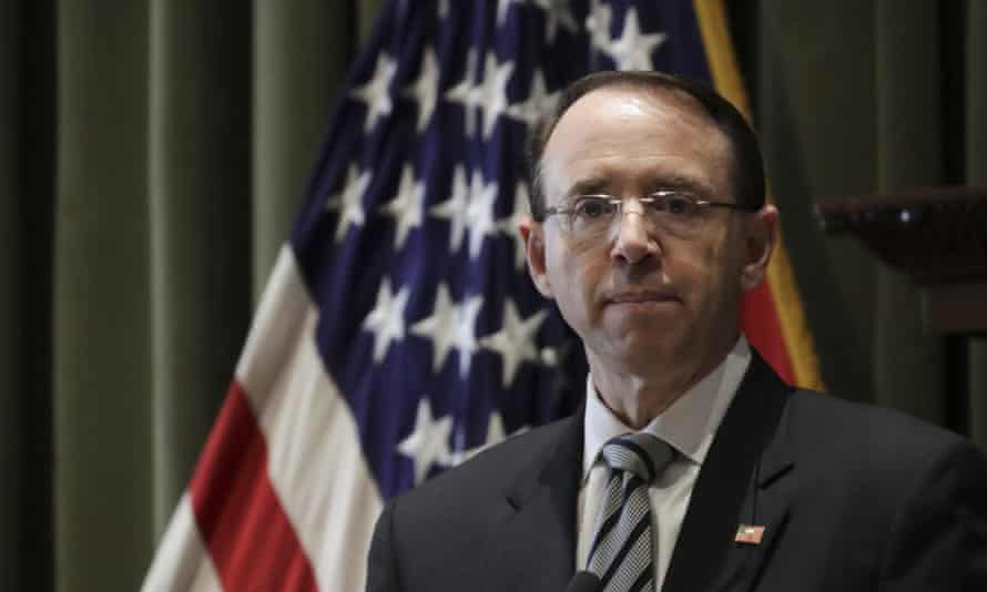 Rod Rosenstein, deputy attorney general, has resigned and will be succeeded by Jeffrey Rosen.