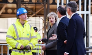 Theresa May and the chancellor visit the construction site of HSBC's new offices in Birmingham.