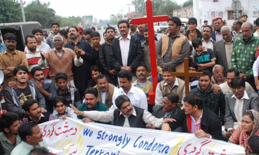 Pakistani Christians protest against bombings outside two churches in Lahore.