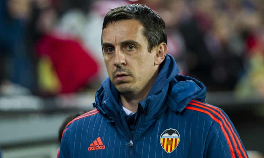 Gone: Gary Neville was sacked in March 2016 after less than four months in charge.