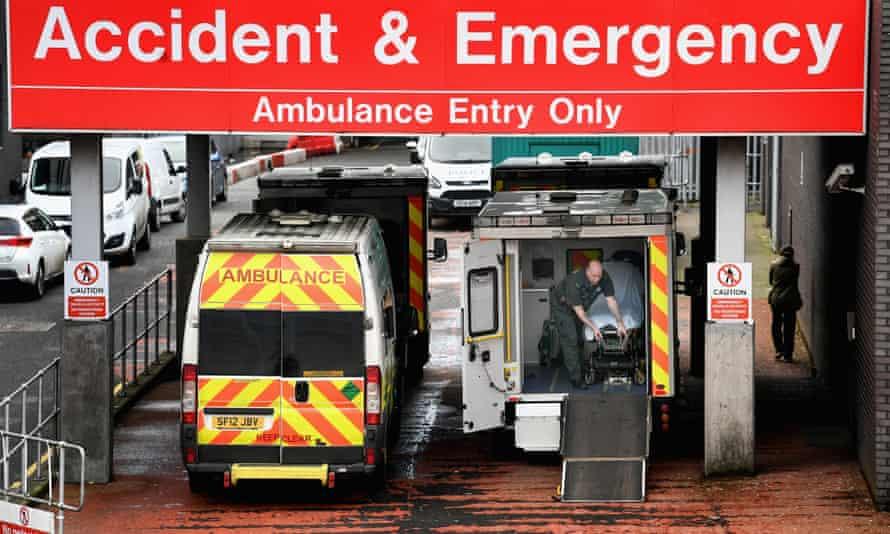 Ambulances at the A&E unit at Glasgow Royal infirmary