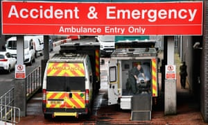 Ambulances sit at the accident and emergency at the Glasgow Royal hospital