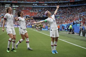 Megan Rapinoe of the US celebrates with teammates Alex Morgan and Samantha Mewis after scoring the opening goal of the Women's World Cup final match against a resilient Netherlands at Stade de Lyon.