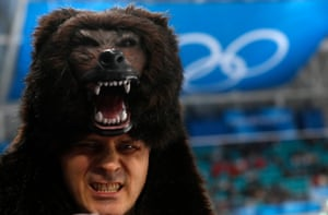 A committed Russia fan pictured at the semifinal match between the Czech Republic and the Olympic athletes from Russia