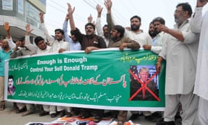 PML-N supporters in Multan, Pakistan, protest after Trump's policy statement on south Asia.