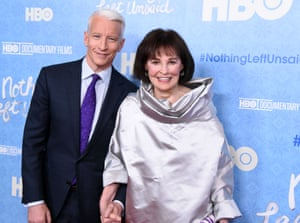 Vanderbilt with her son Anderson Cooper, the CNN anchorman, at the premier of Nothing Left Unsaid, a documentary about their family. released in 2016.