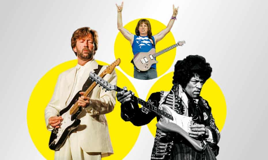 From left: Eric Clapton; Christopher Guest as Nigel Tufnel; Jimi Hendrix.