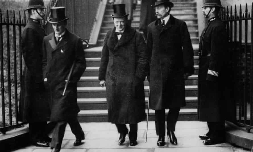 Winston Churchill accompanied to a cabinet meeting by Sir Edward Grey and Lord Crewe, 1910.