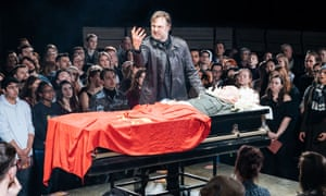 Blood and destruction … David Morrissey as Mark Anthony in the Bridge theatre production.