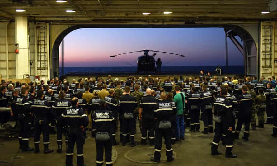 French navy soldiers aboard the French Charles-de-Gaulle aircraft carrier as part of operation Chammal in Syria and Iraq against the Islamic State group.