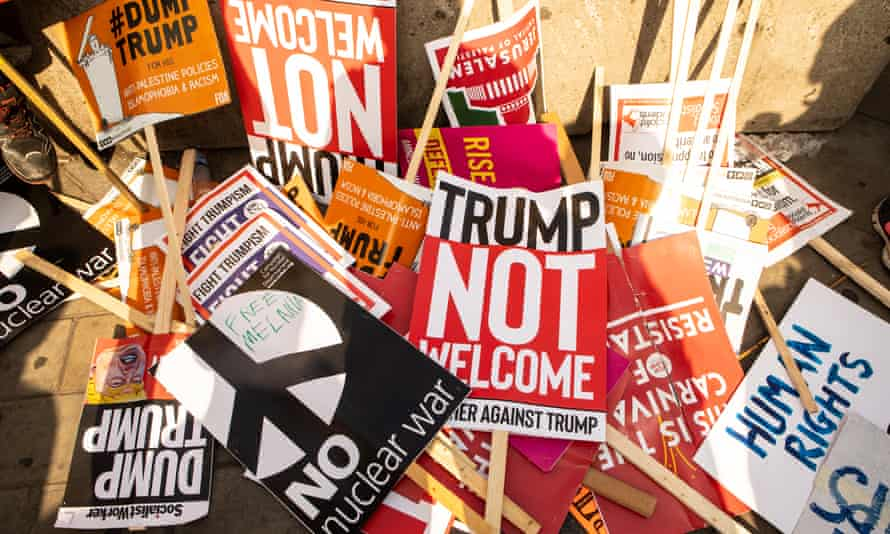 Placards after a protest march against Donald Trump in London, July 2018