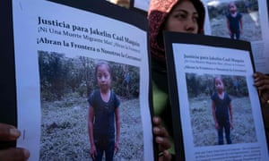 Central American migrants hold a demonstration after the death of Jakelin.