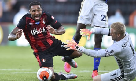 Bournemouth's Callum Wilson is brought to the ground against Leicester in July.
