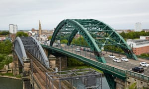 The Wearmouth Bridge and the port beyond in Sunderland city centre.