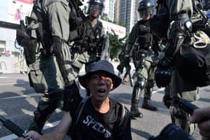 Hong Kong: A pro-democracy protester in Tuen Mun district. Riot police and protesters were engaged in brief skirmishes in the latest in a long series of confrontations