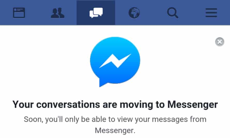 Facebook Messenger warning from the m.facebook.com mobile site