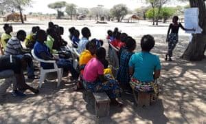 Devota from Tanzania (far right leading the session)