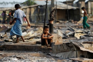 Shelters destroyed by fire at a camp for internally displaced Rohingya Muslims in Rakhine state.