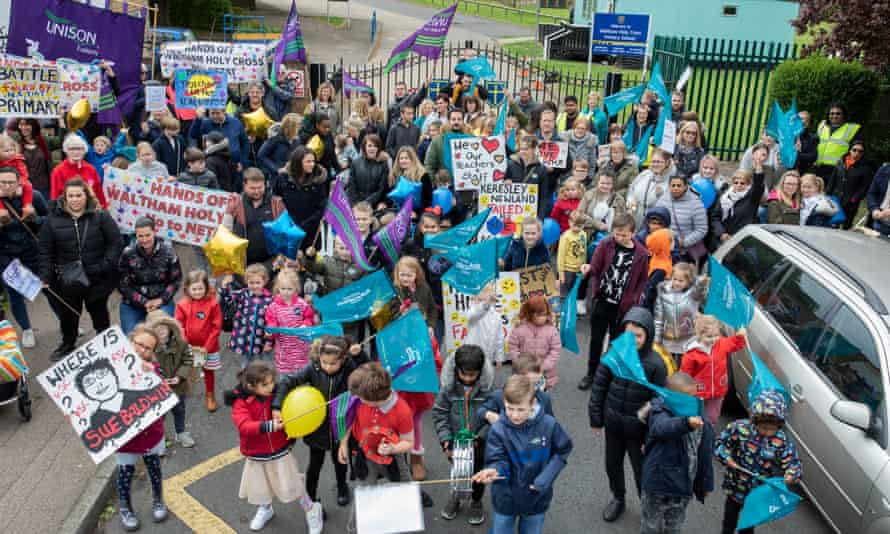A protest against the academisation of Waltham Holy Cross primary school, Essex, in April 2019.
