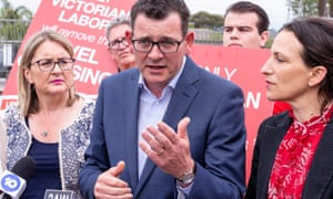 Premier Daniel Andrews speaks to the media on the campaign trail