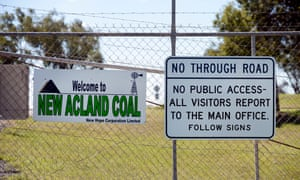 A sign at the entrance to the New Acland coalmine