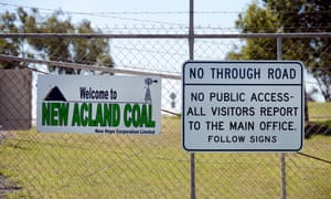 A sign at the entrance to the New Acland coal mine in Acland, about 200km west of Brisbane