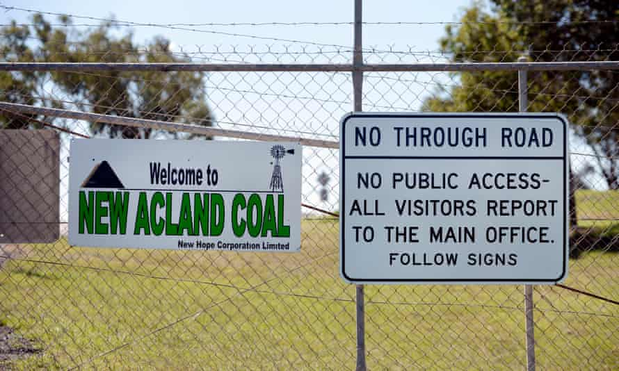 A sign at the entrance to the New Acland coal mine in Acland, about 200km west of Brisbane.