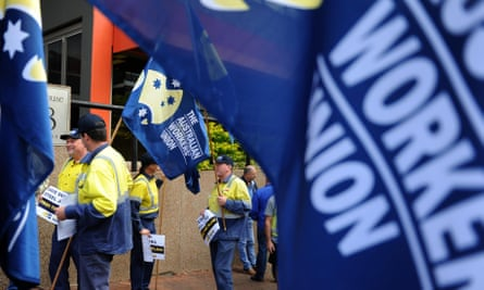 AWU members in New South Wales at a protest in 2011. It is not unusual for companies to pay workers' union fees.