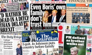 The front pages of the UK papers following the resignation of Boris Johnson's brother Jo Johnson over the Brexit crisis.
