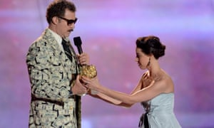 Will Ferrell and Aubrey Plaza during the 2013 MTV Movie Awards.
