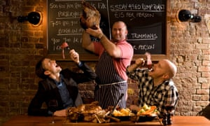 Hawksmoor Steakhouse owners Huw Gott, left, and Will Beckett, right, with the chef Richard Turner.