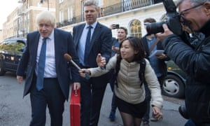 Newly appointed Foreign Secretary Boris Johnson leaves his home in north London.