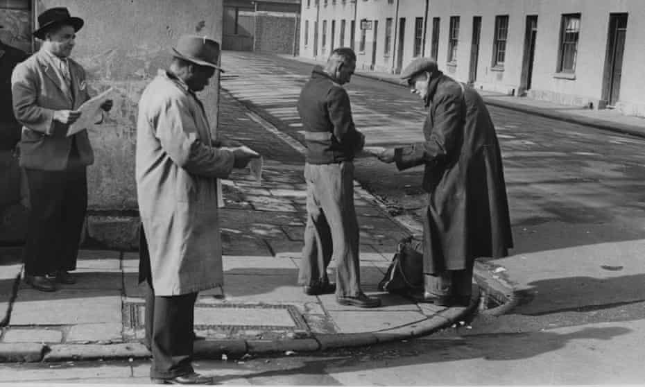 Unemployed sailors in Tiger Bay, Cardiff, 1951.