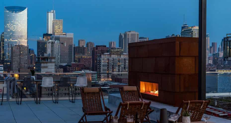 The rooftop communal areas of the Quarters co-living development in Chicago.
