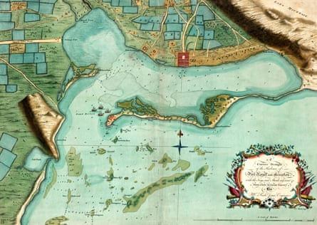 Mid-1700s map of Port Royal and Kingston Harbour.