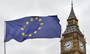an eu flag and the big ben clock