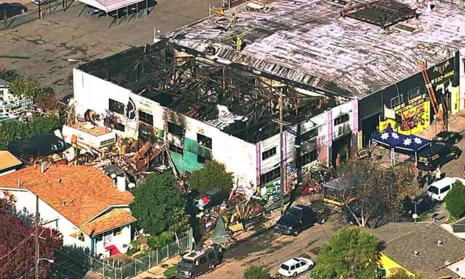An image from video provided by KGO-TV shows the Ghost Ship Warehouse after a fire that started late on Friday.