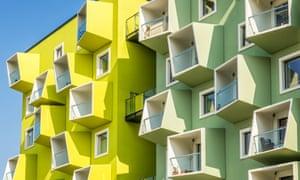 The green and yellow Ørestad development in Copenhagen