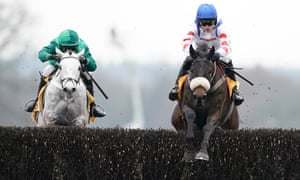 Harry Cobden and Clan Des Obeaux (right) clear the last to win the Betfair Denman Steeple Chase from Terrefort and Nico de Boinville at Ascot last month.